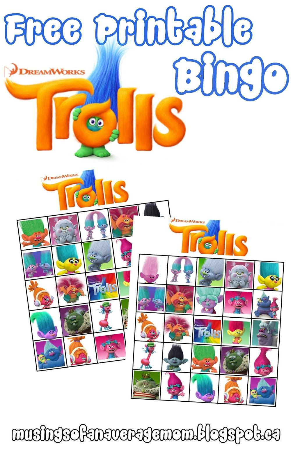 free printable trolls bingo | Grandkids | Pinterest | Troll party ...
