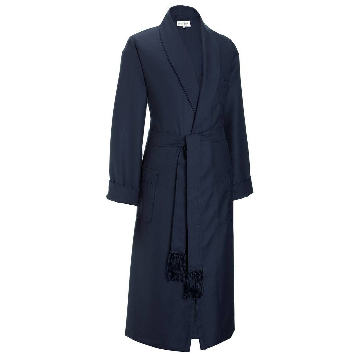 Derek Rose Westminster 2 Pure Wool Dressing Gown - Navy | Derek ...