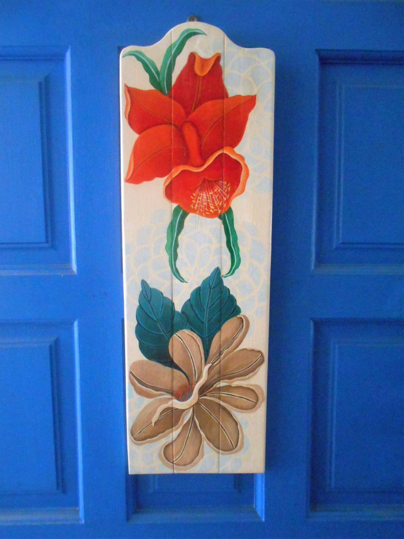 Tropical decor floral wall decor plank art floral art hand