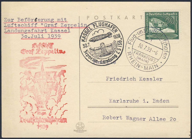 Germany, German Empire, Zeppelinpost, 30.07.1939, Karte von der Fahrt nach Kassel (Sieger-Nr.460) (Mi.-Nr.DR 670 EF). Price Estimate (8/2016): 20 EUR. Unsold.