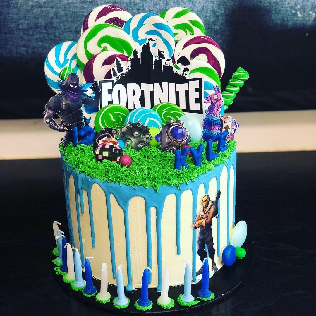 Fortnite Drip Cake With Lollipops In 2019 Cake Boy