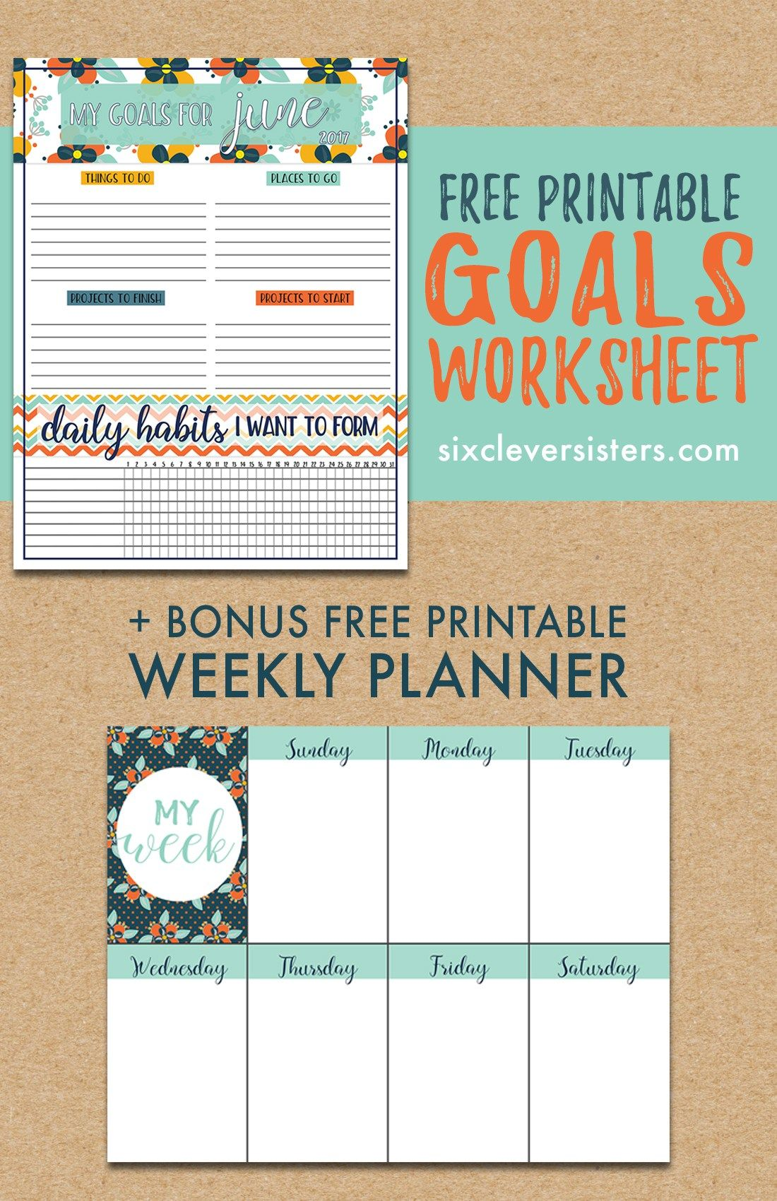 Free Download Goals Worksheet Printable