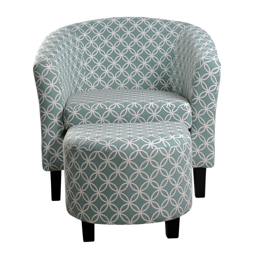 Best Nathaniel Home Paisley Light Blue Tub Chair With Ottoman Products Barrel Chair Blue Accent 400 x 300