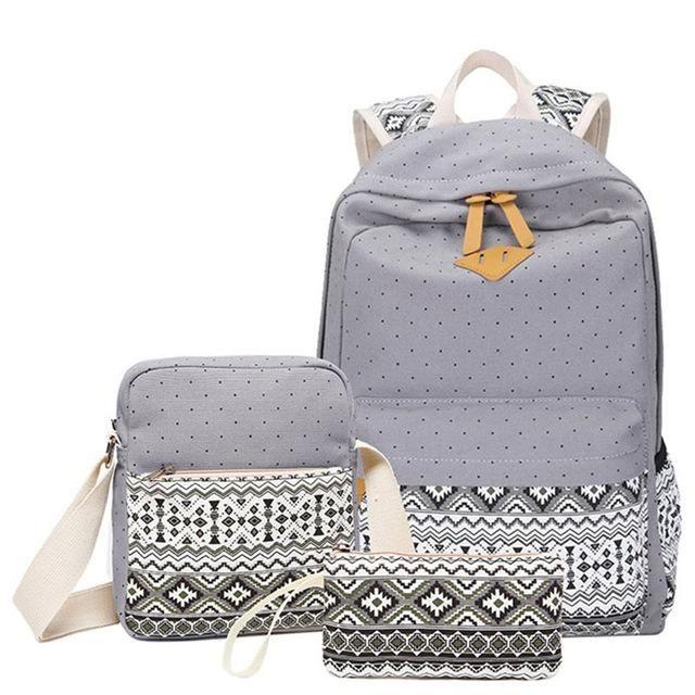3 Pcsset Polka Dot Printing Women Backpack Cute Lightweight Canvas