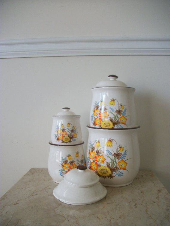 vintage ceramic canister set by noveltyandthings on etsy 50 00