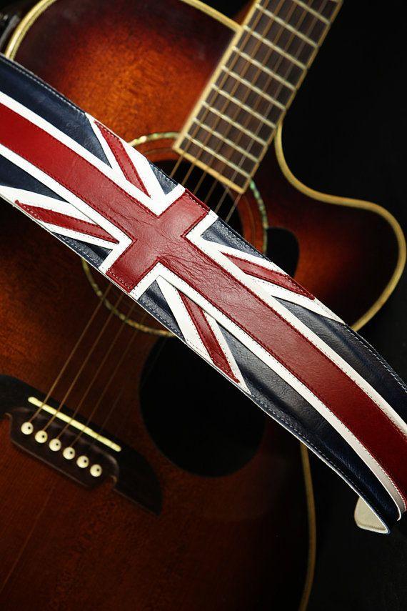 Leather Guitar Strap Great Britain Guitar Strap Union Jack Etsy Leather Guitar Straps Guitar Strap Guitar