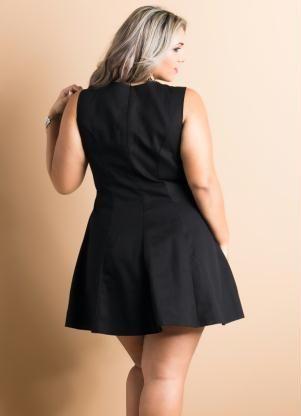 Vestido Evasê Preto Plus Size - Posthaus