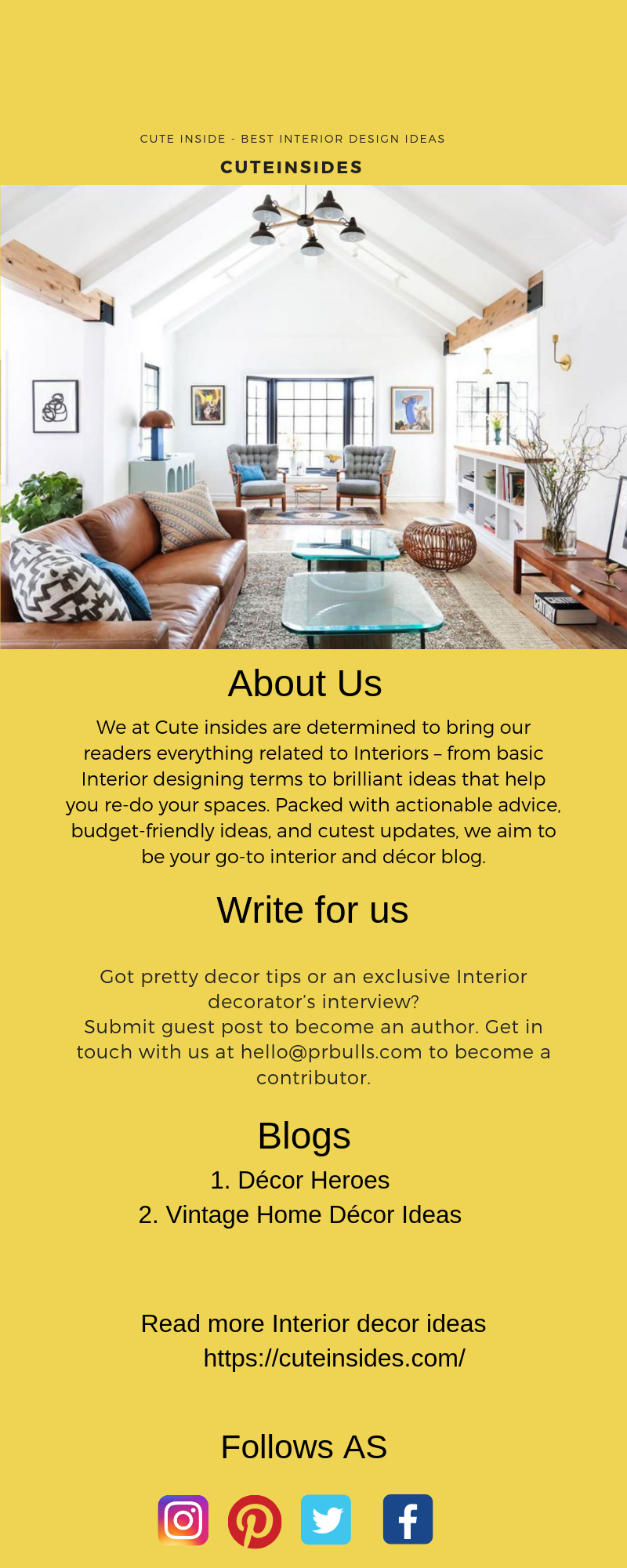 Pin by Cuteinsides on Write For us in 2019 | Best interior