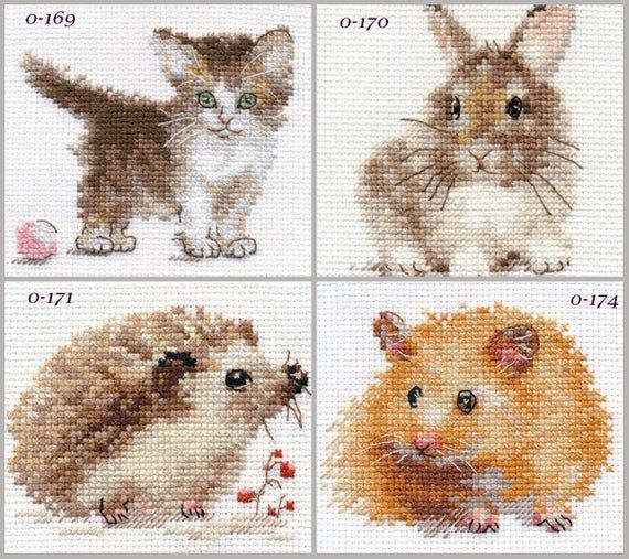 1 of 4 to choose NEW UNOPENED Russian mini Counted Cross Stitch KIT Alisa Baby Animals CUBs Kitten Bunny Hadgehog Hamster  Cross stitch designs