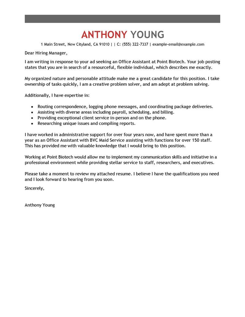 25 Office Assistant Cover Letter Cover Letter Example Cover