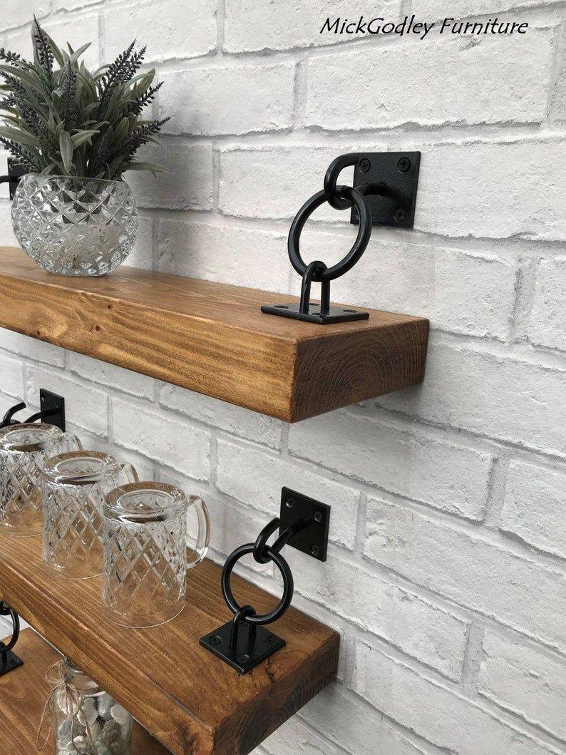 Rustic Industrial Handmade Floating Shelves Shelf Solid