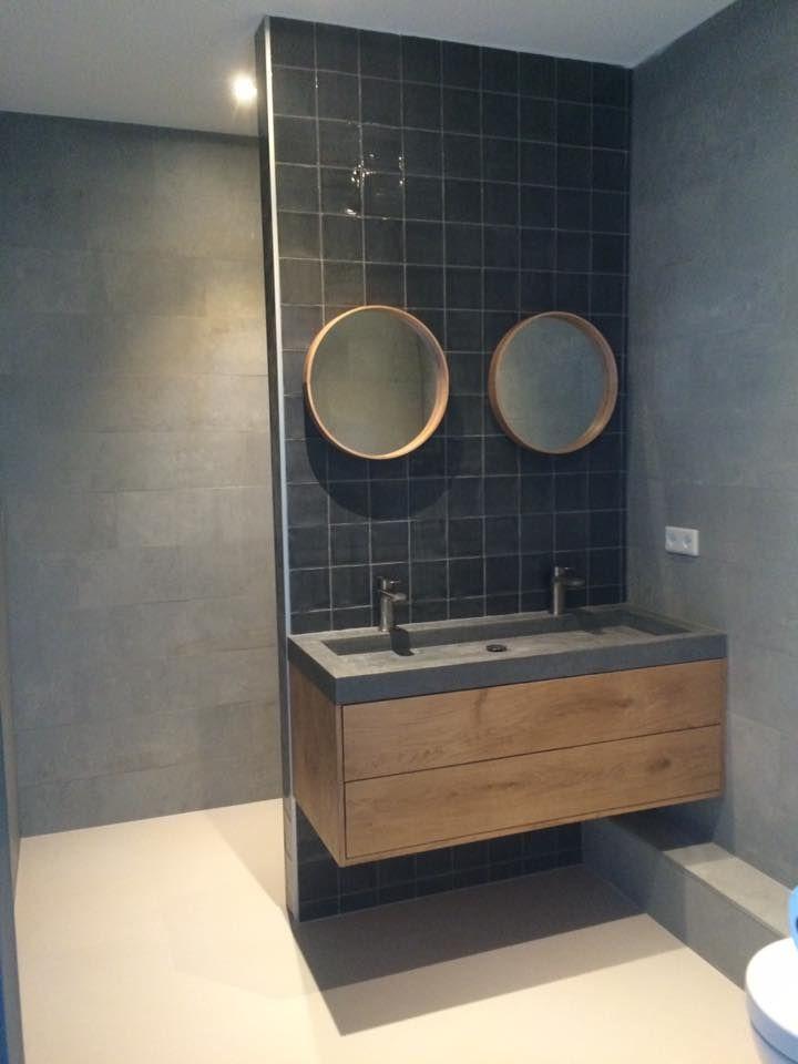 Badkamer meubel met betonlookblad Gemaakt bij Talsma Meubels ...