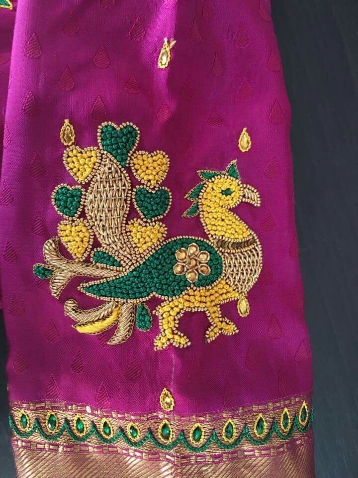 Saree blouse designs patterns simple south indian also best hand embroidery images in appliques rh pinterest