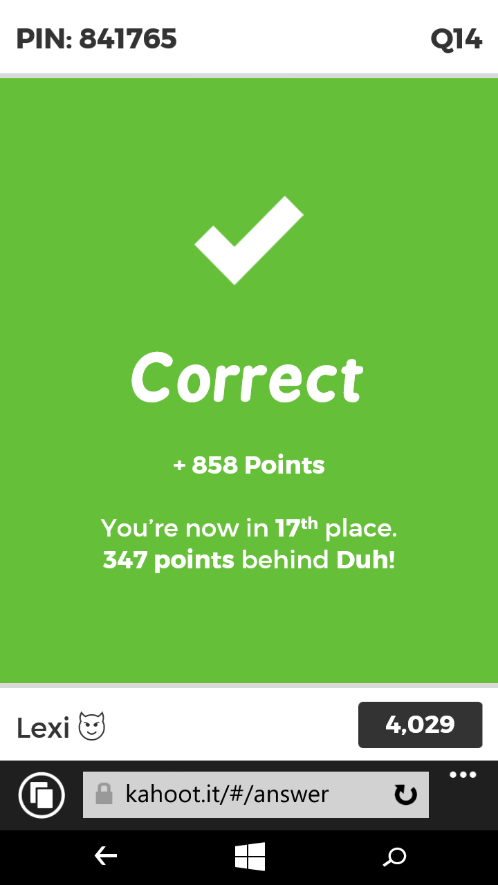 The fact that this happened to me  Worst Kahoot of my life