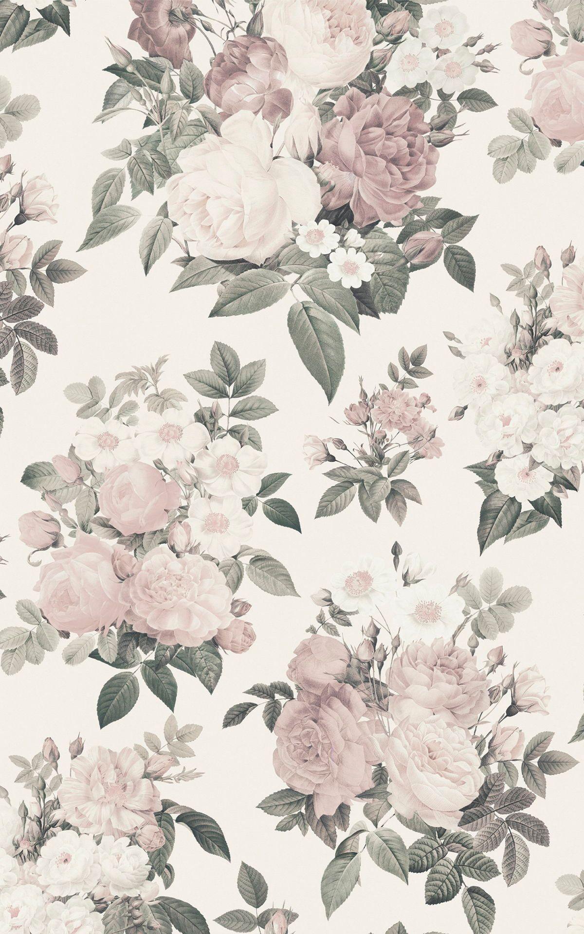 Cream Pink Vintage Rose Floral Wallpaper Mural Hovia Vintage Flowers Wallpaper Vintage Floral Wallpapers Vintage Floral Backgrounds Flower wallpaper vintage pink background
