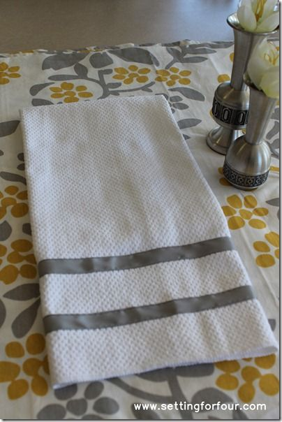Quick And Easy Ribbon Trimmed Kitchen Towels Towels DIY