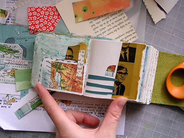 pages from Robyn Wells' little book - I used only scraps of paper that were already on my work table  http://www.flickr.com/photos/robayre/sets/72157623510967546/ #sketchbook #collage