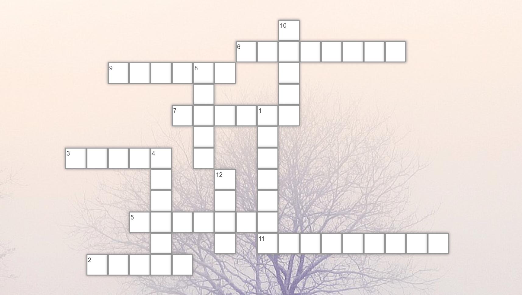 Crucigrama Palabras del invierno Spanish, Crossword