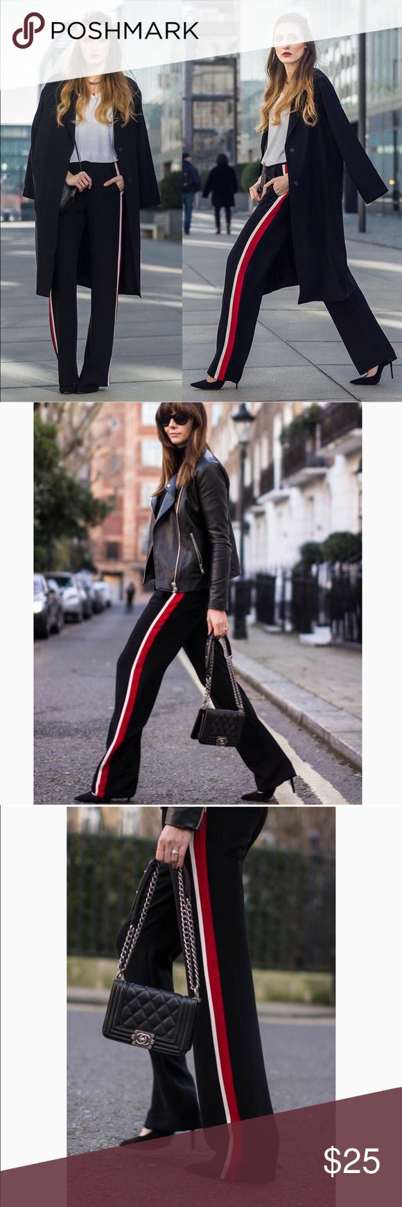 3d71e490 Zara black with red stripe trousers Zara black with red stripe trousers-  EUC- black with red and white stripe going down both sides, elastic  waistband, 2 ...