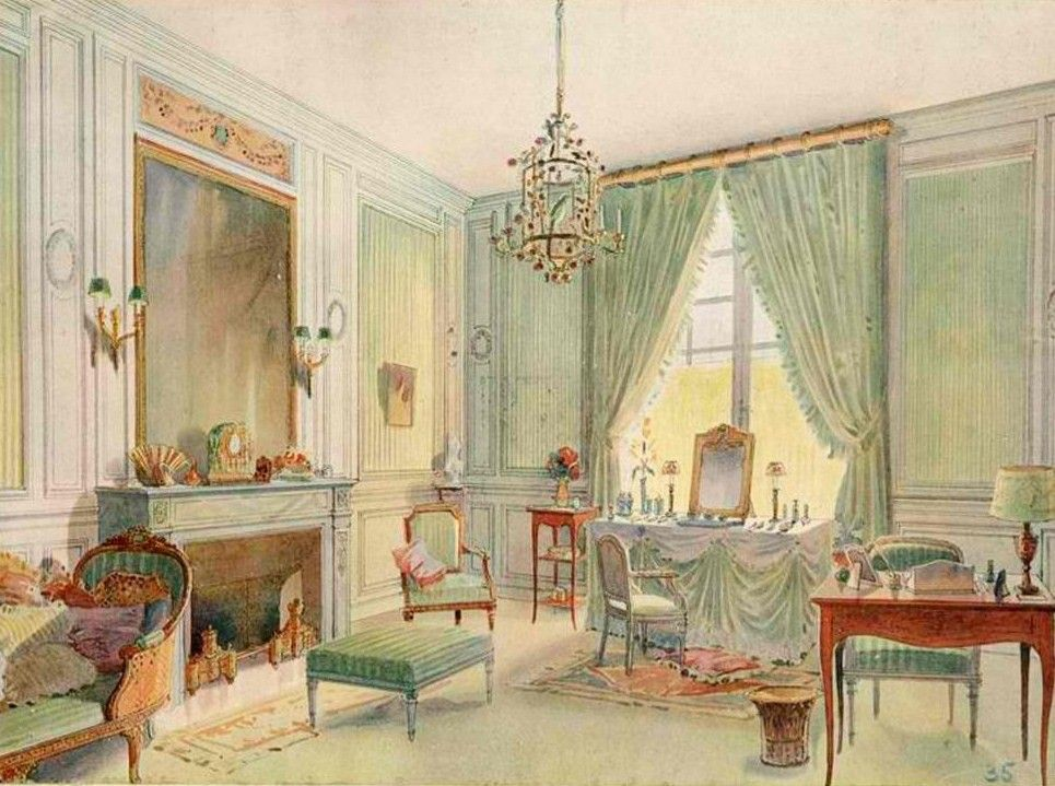 Interior - Georges Remon - Boudoir in Louis XVI style with chaise
