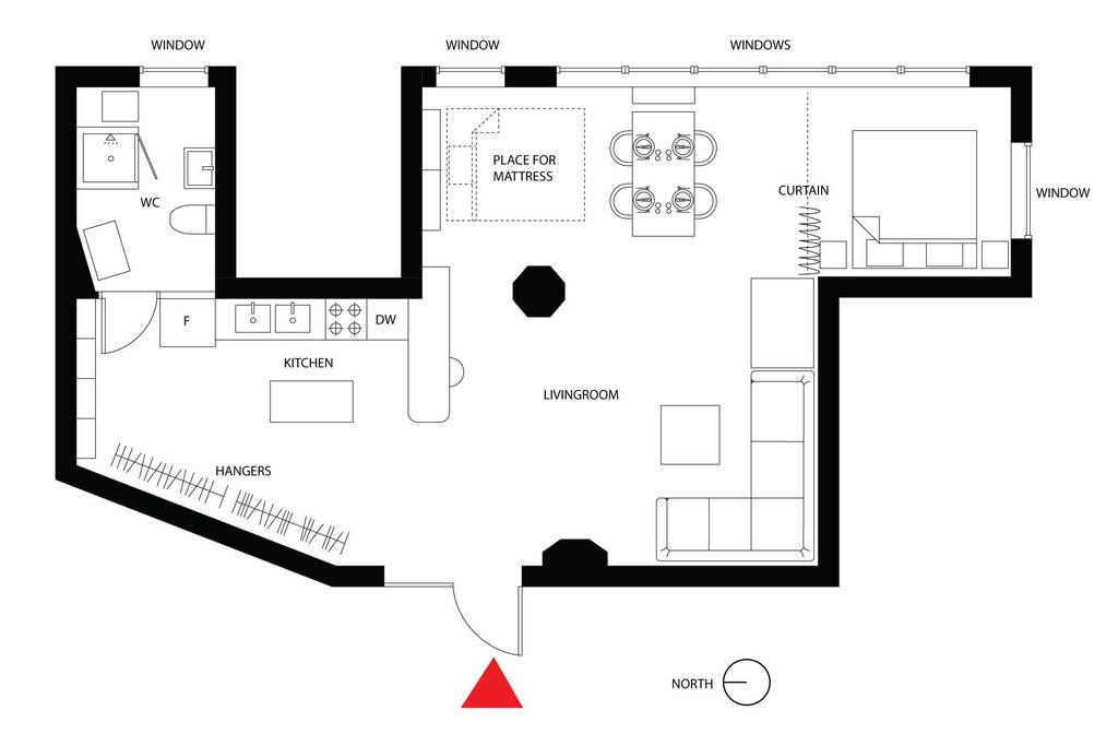 Floor plan of our airy sunfilled loft brooklyn lofts