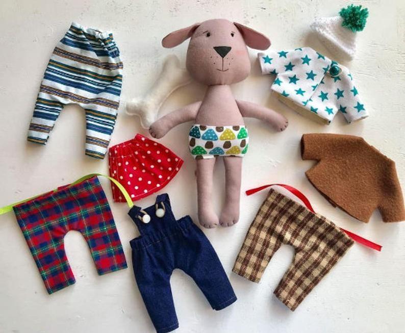 Set Of Dog Stuffed Animals, Stuffed Dog Fabric Toy With Set Of Clothes Dog Stuffed Etsy Fabric Toys Doll Clothes Rag Doll