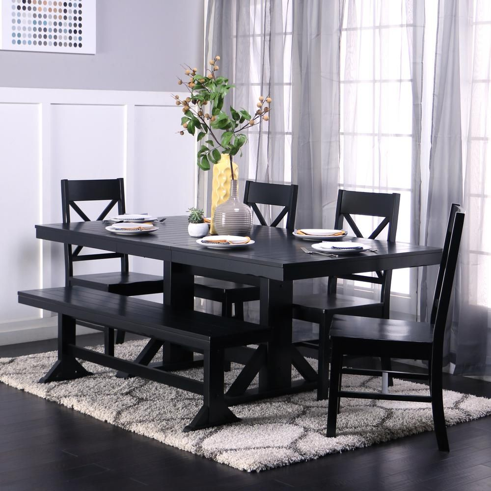 Walker Edison Furniture Company 6 Piece Traditional Wood Dining Set Antique Black Hd60w2bl The Home Depot Black Dining Room Black Dining Room Furniture Black Dining Room Sets