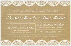 Alright ladies! This is the wedding invite! Burlap and lace will be key in the decor! haha