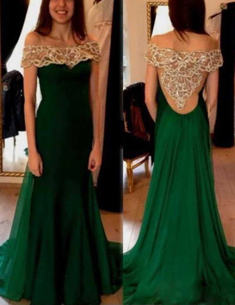 Dark green aline off the shoulder short sleeves prom dress with