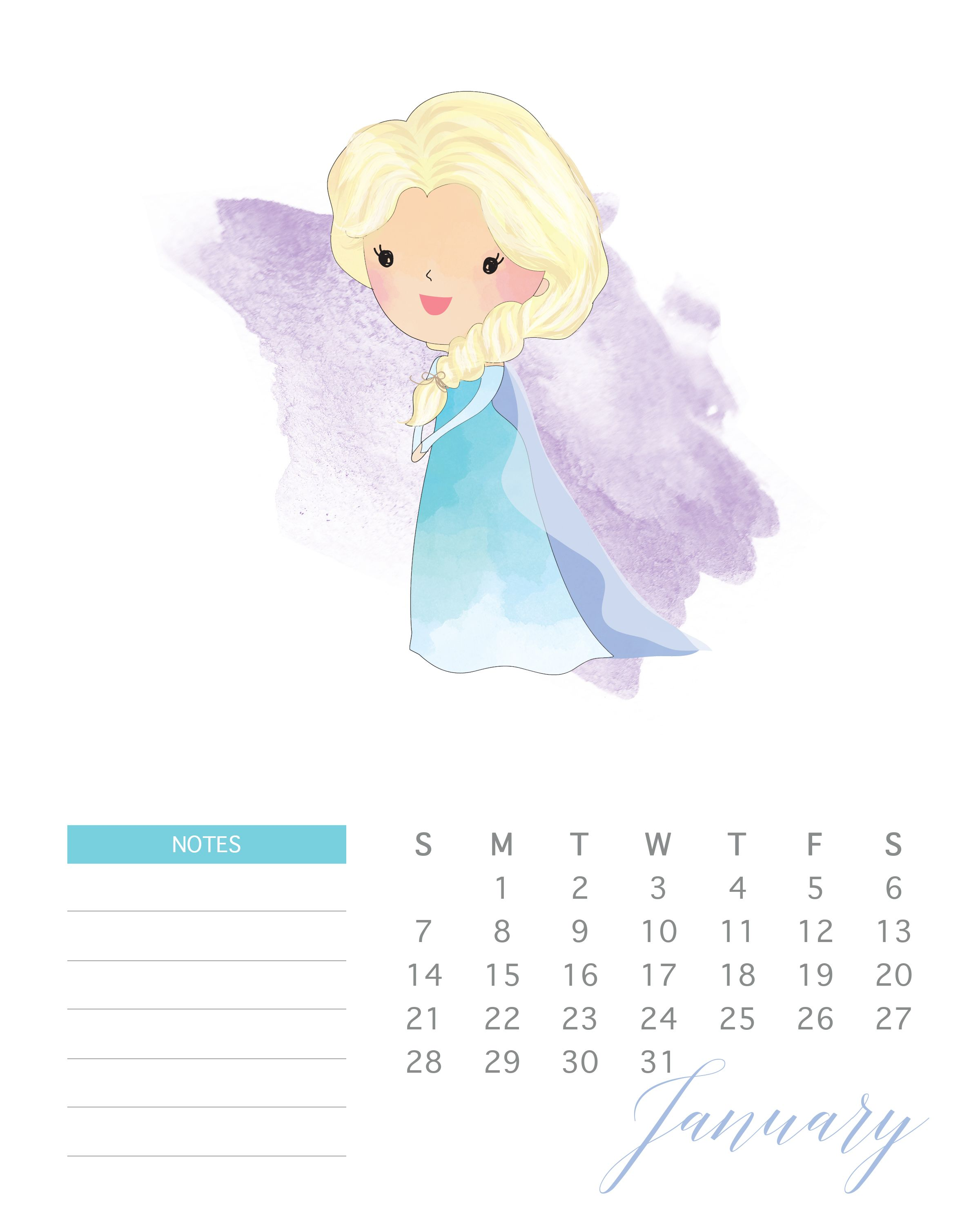 Free Printable Watercolor Princess Calendar