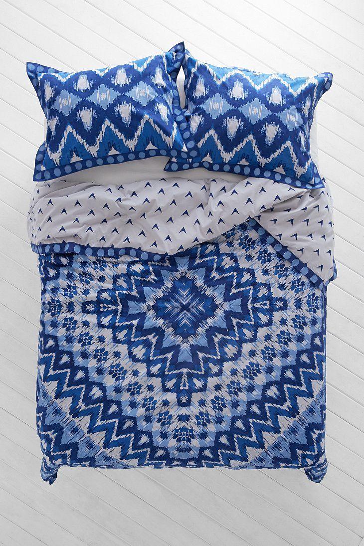 Boho Royal Blue Magical Thinking Kasuri Medallion Duvet Cover