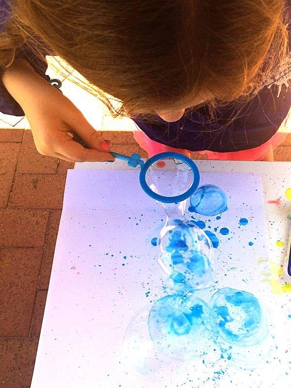Bubble Painting With Bubble Blowers Malerier Ideer Bornekreativitet Kreativitet