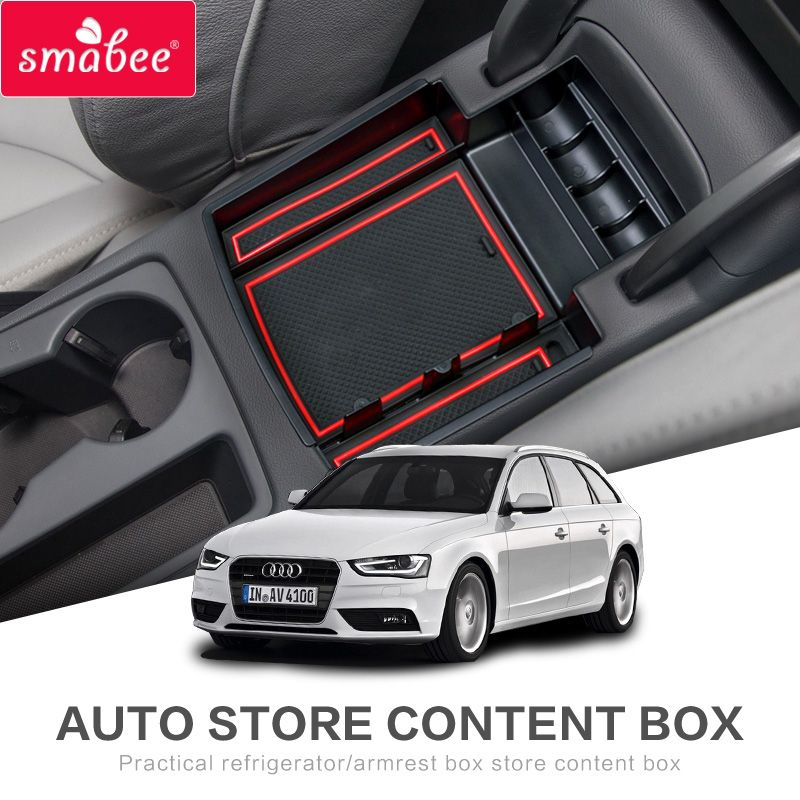 for audi a4 a5 a5s 2009 2017 car center console armrest storage box interior accessories stowing. Black Bedroom Furniture Sets. Home Design Ideas