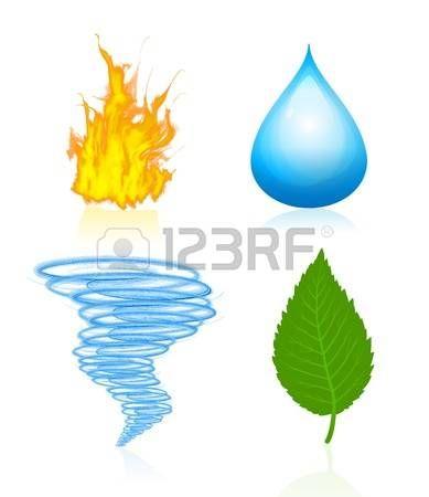 Ilustraciones De Cuatro Elementos Naturales De Plantas Agua Viento Y Fuego Elementos Dibujos De Agua Elementos Naturales