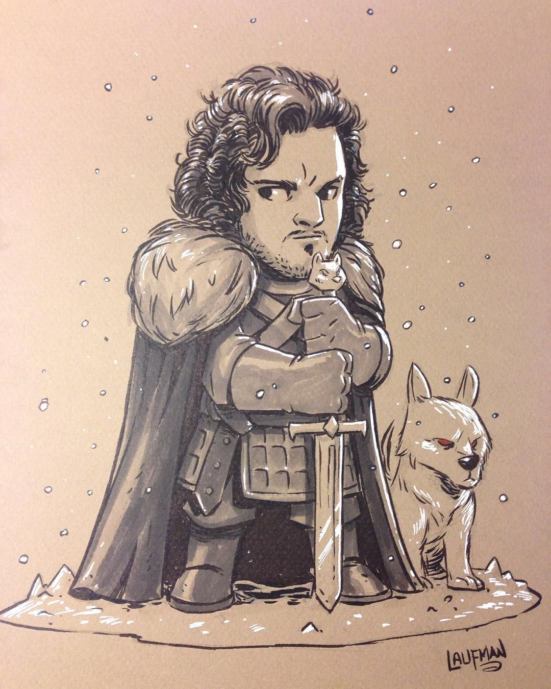 Jon Snow And Ghost 8 5x11 Ink And Marker On Quality Textured And