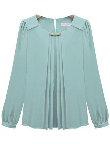 Blue Long Sleeve Metal Embellished Chiffon Blouse - Sheinside.com