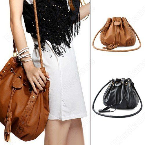 Shoulder Bags Women Lady Pu Leather Bucket Crossbody Messenger Bags Tassels  Handbag Purse Hobo Black Brown Color Bag-in Shoulder Bags from L.. 1b7bd620cf55e