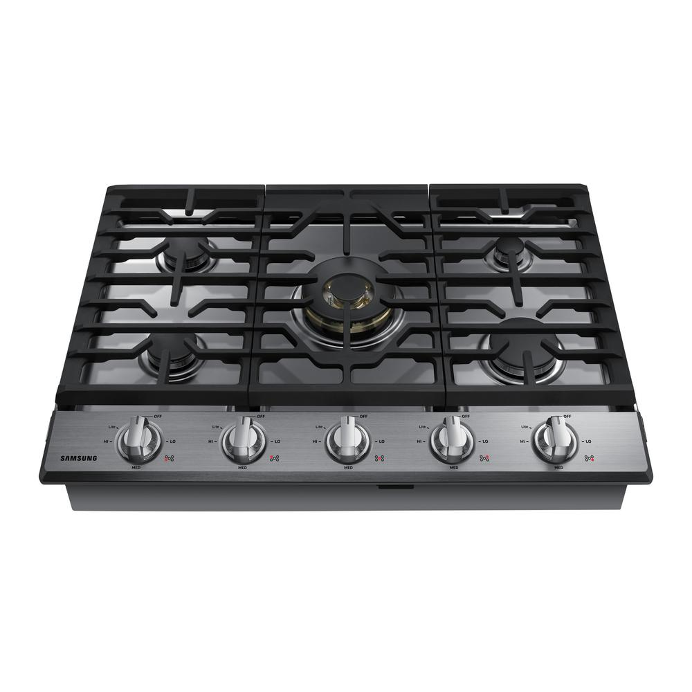 Samsung 30 In Gas Cooktop In Stainless Steel5 Burners Including Dual Ring Brass Power Burner Gas Cooktop Cooktop Gas Cooker