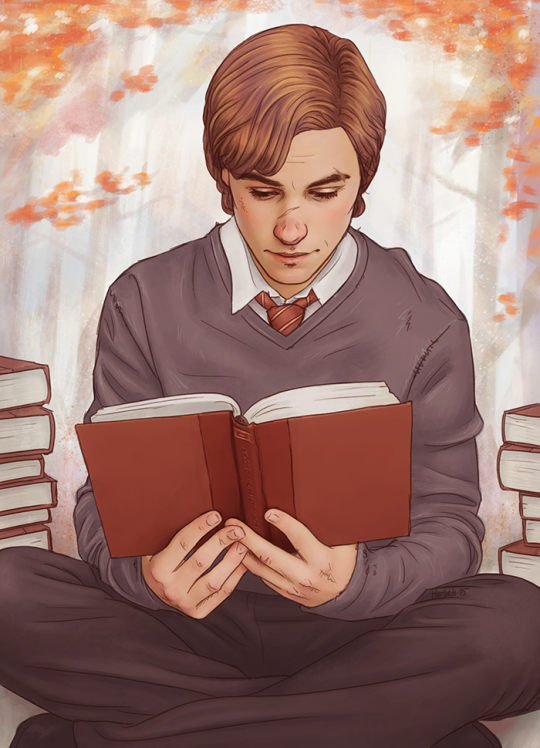 A young Remus Lupin reads  Art by Harbek | Harry Potter in 2019