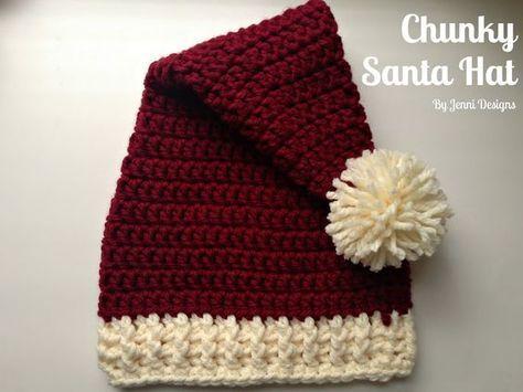 Free Crochet Pattern: Chunky Santa Hat in 4 sizes | Crochet | Pinterest