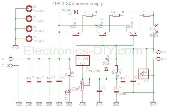 10a 1 30v Variable Power Supply With Lm317 Power Supply Circuit Power Supply Power