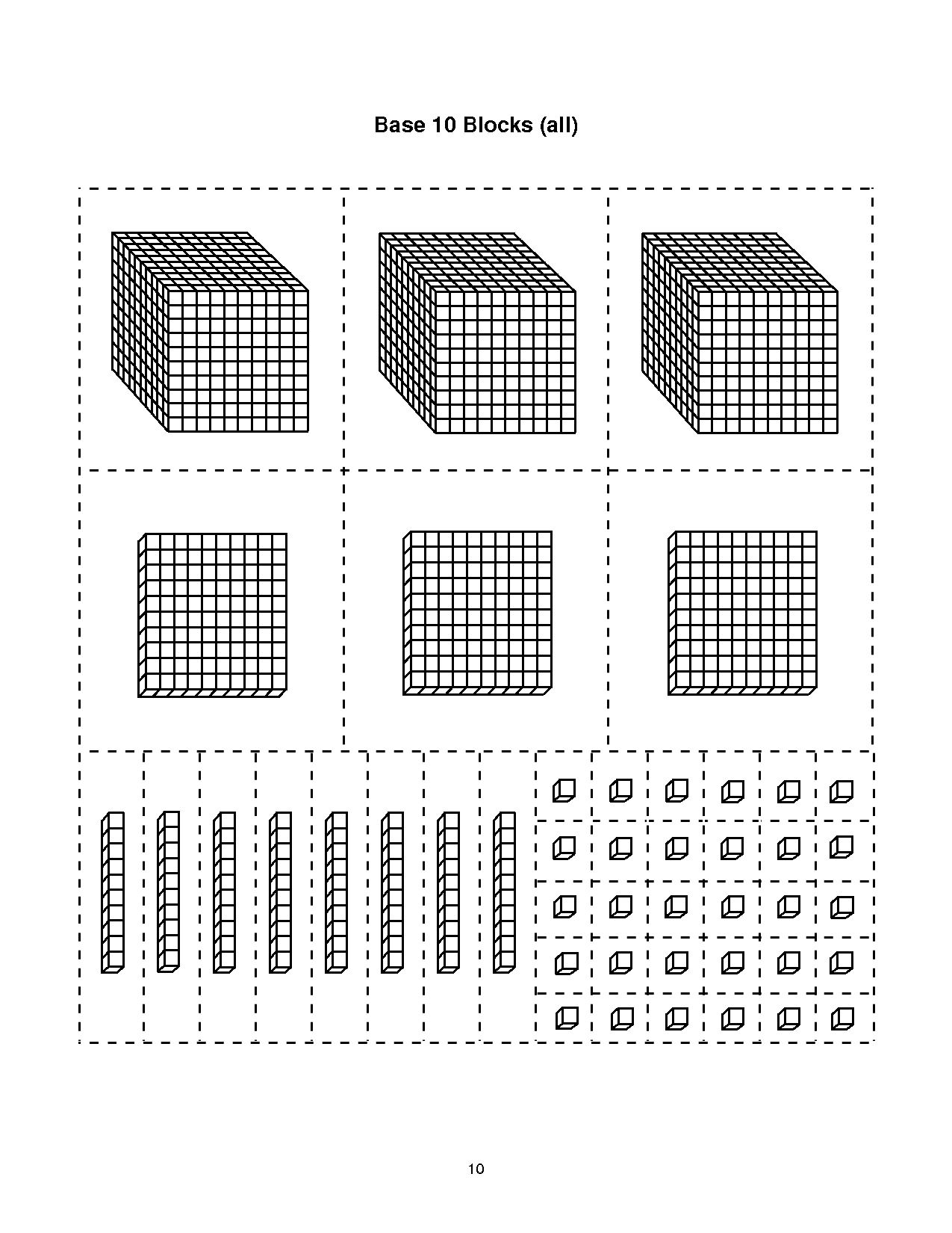 Base Ten Block Templates