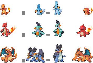 1st Gen Fire + 3rd Gen Water Fusions by mondecolore on deviantART | Pokemon sprites. Pokemon. Fire