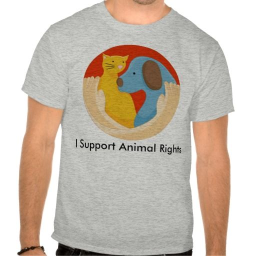 Cat Dog Hug Cartoon Animal Rights Support Shirt