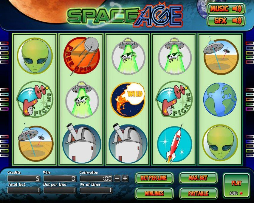 Space Age! 5 reel slot! For more games register on http://casino-goldenglory.com/