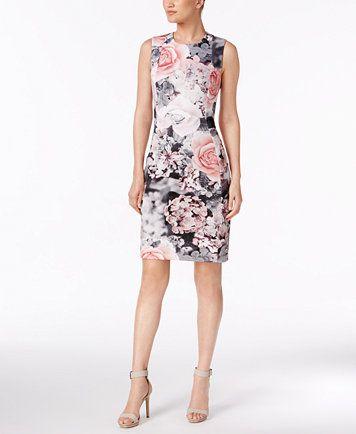 9433fee36364 Calvin Klein Printed Scuba Sheath Dress   macys.com   Dresses I Want