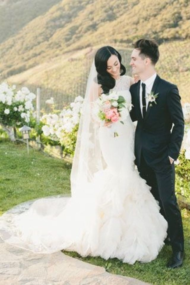 Brendon Urie And Sarah Orzechowski On Their Wedding Day I Love How Happy Bre Fairy Tale Wedding Dress Creative Wedding Inspiration Wedding Southern California