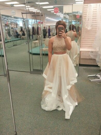 2 Piece Prom Dress Nude And Cream Color From Davids Bridal For A