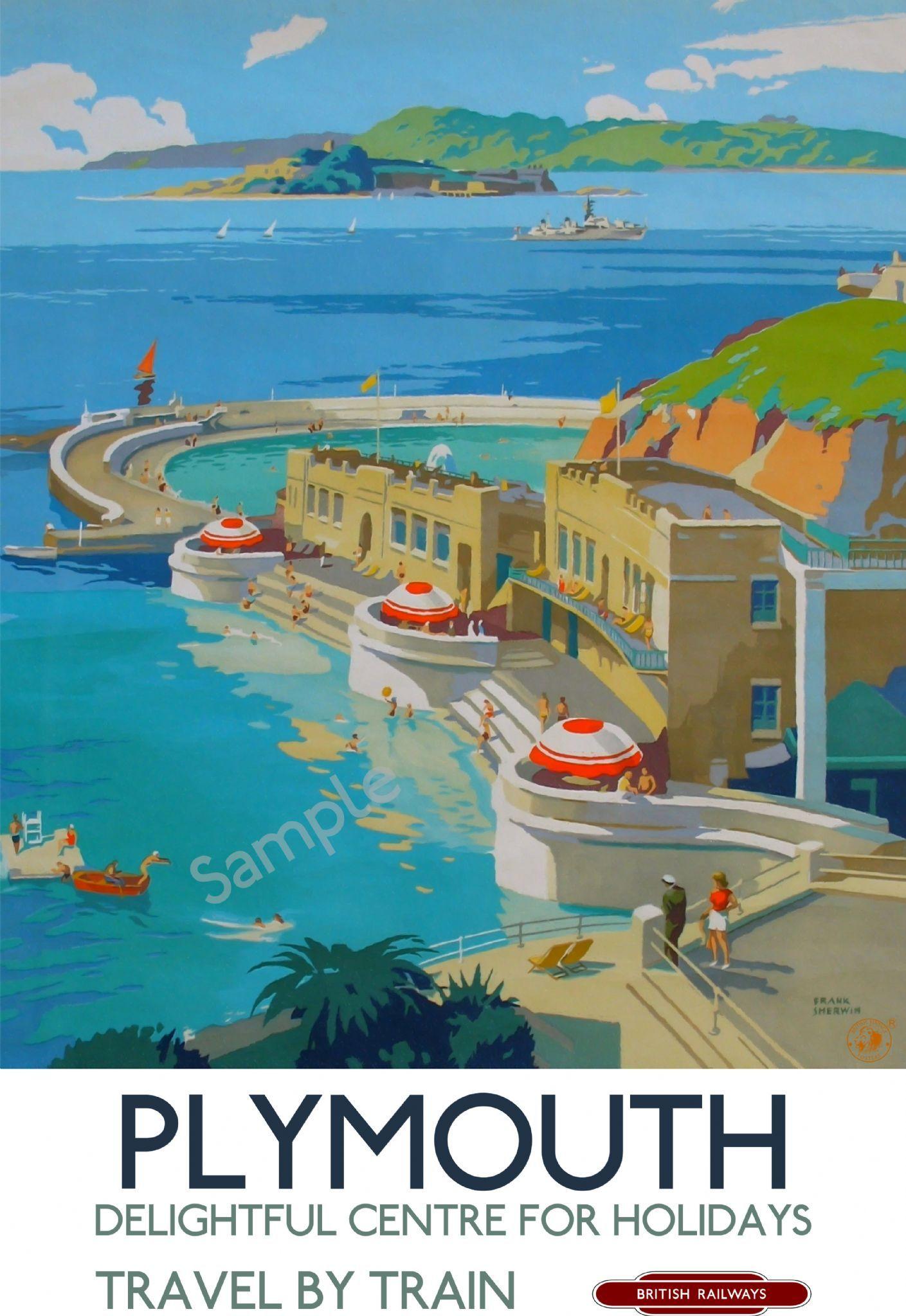 Vintage LMS Grange Over Sands Railway Poster Print A3//A4
