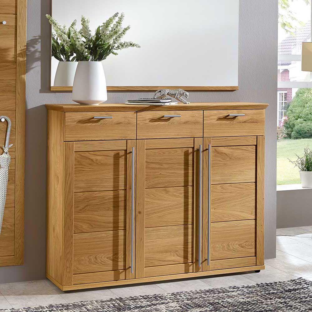 Trend Garderoben Sideboard mit Eiche Bianco furniert modern sideboard wohnzimmerschrank kommode sidebord k chenkommode wohnzimmer schrank wohnzimmer kommode gro e
